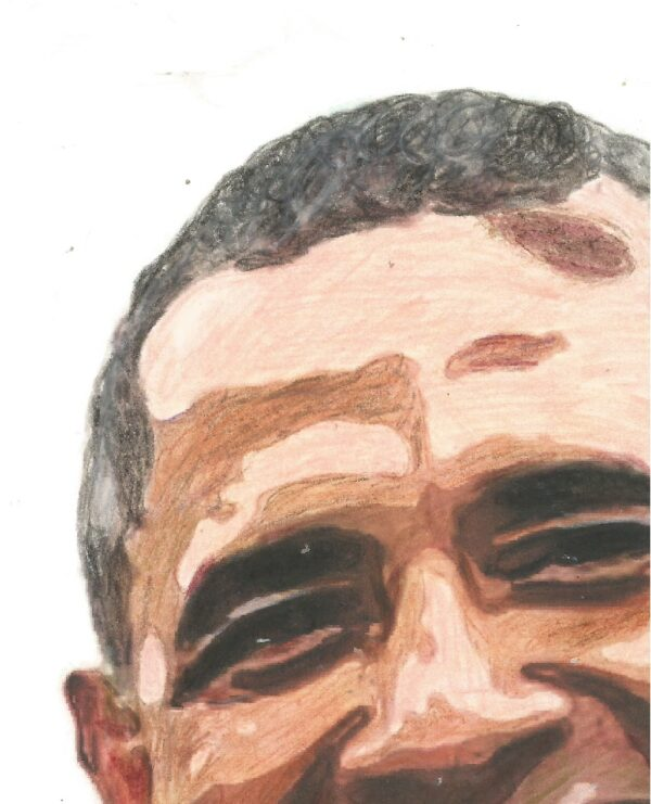 """""""Obama"""" By: Raychel Smith CLOSE-UP ONE This Original 8"""" x 10"""" Colored Pencil Drawing by Acclaimed Portrait Artist Raychel R. George (formerly Smith), of Barak Obama"""